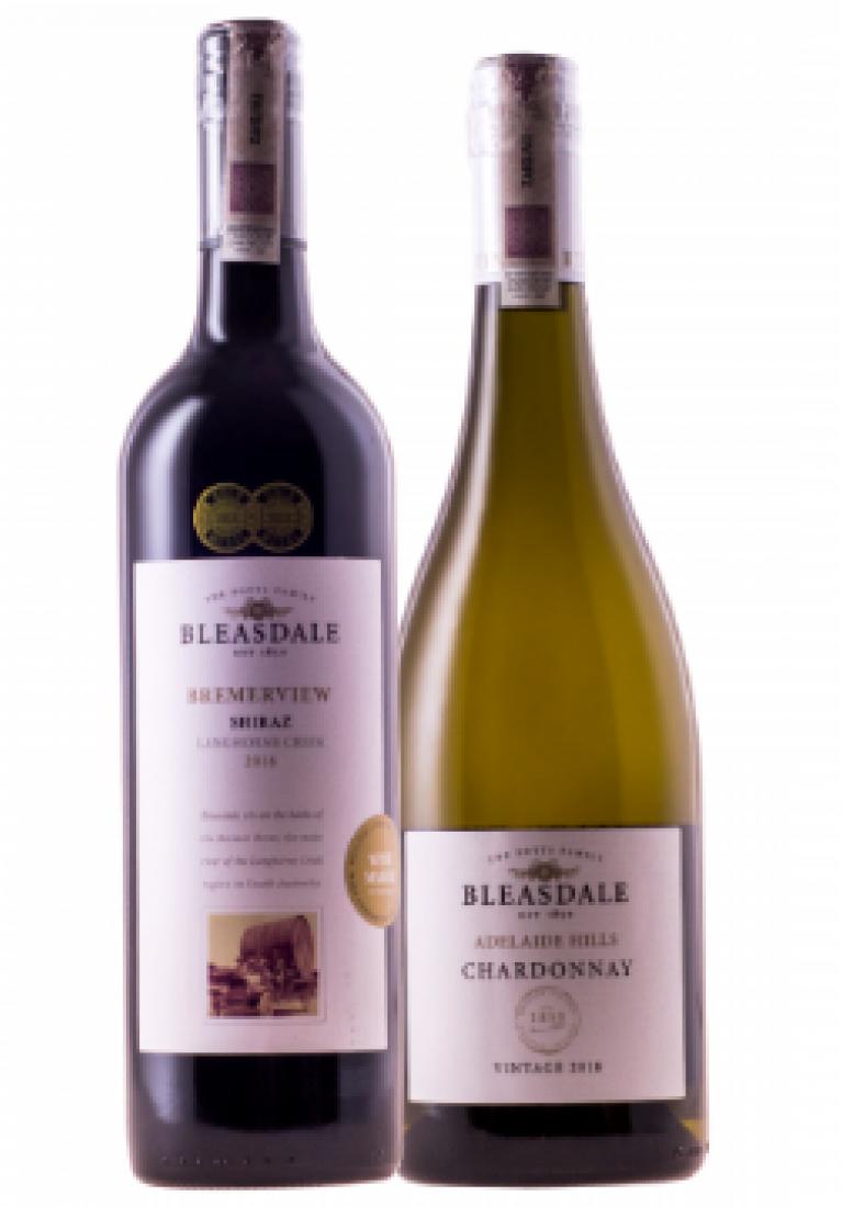 Zestaw mieszany 6 Shiraz Bremerview & 6 Chardonnay Adelaide Hills, Bleasdale + DARMOWA DOSTAWA