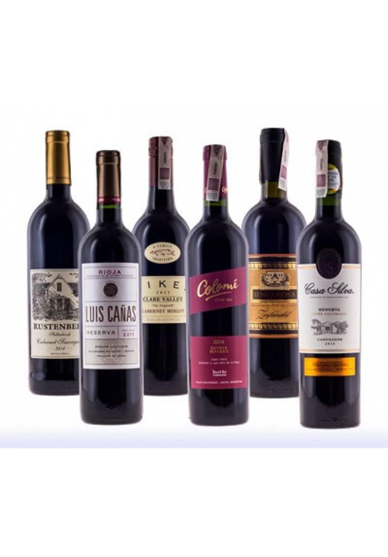 Zestaw 6 czerwonych win z całego świata + DARMOWA DOSTAWA - wine-express.pl